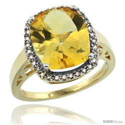 10k Yellow Gold Diamond Citrine Ring 5.17 ct Checkerboard Cut Cushion 12x10 mm, 1/2 in wide