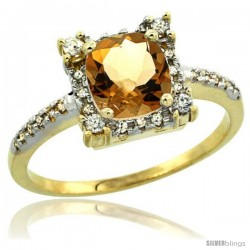 10k Yellow Gold Diamond Halo Citrine Ring 1.2 ct Checkerboard Cut Cushion 6 mm, 11/32 in wide