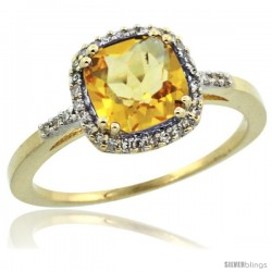 10k Yellow Gold Diamond Citrine Ring 1.5 ct Checkerboard Cut Cushion Shape 7 mm, 3/8 in wide