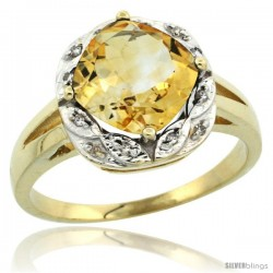 10k Yellow Gold Diamond Halo Citrine Ring 2.7 ct Checkerboard Cut Cushion Shape 8 mm, 1/2 in wide