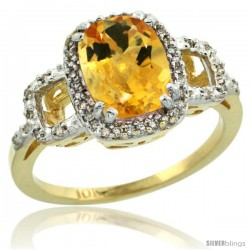 10k Yellow Gold Diamond Citrine Ring 2 ct Checkerboard Cut Cushion Shape 9x7 mm, 1/2 in wide