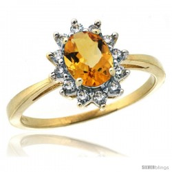 10k Yellow Gold Diamond Halo Citrine Ring 0.85 ct Oval Stone 7x5 mm, 1/2 in wide