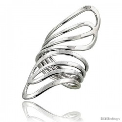 Sterling Silver Hand Made Freeform Wire Wrap Ring, 2 1/8 in (54 mm) wide