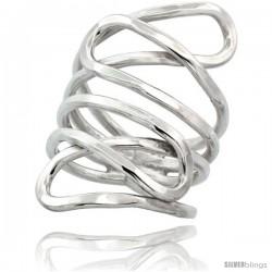 Sterling Silver Wire Wrap Tear Drop Ring Hammer finish Crisscross Handmade, 1 1/4 in Long