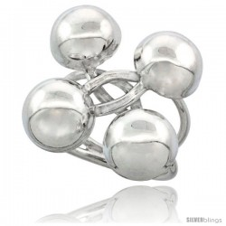 Sterling Silver Four Half Balls Ring Crisscross Handmade, 1 1/8 in Long
