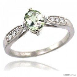 14k White Gold Natural Green Amethyst Ring 7x5 Oval Shape Diamond Accent, 5/16inch wide