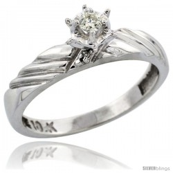 10k White Gold Diamond Engagement Ring, 1/8inch wide -Style Ljw118er