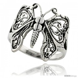Sterling Silver Butterfly Ring 3/4 in Long