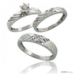 10k White Gold Diamond Trio Wedding Ring Set His 5mm & Hers 3.5mm -Style Ljw118w3