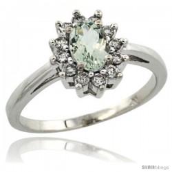 10k White Gold Green Amethyst Diamond Halo Ring Oval Shape 1.2 Carat 6X4 mm, 1/2 in wide