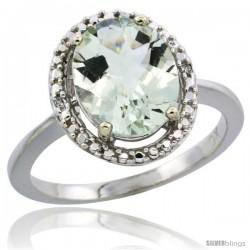10k White Gold Diamond Halo Green Amethyst Ring 2.4 carat Oval shape 10X8 mm, 1/2 in (12.5mm) wide