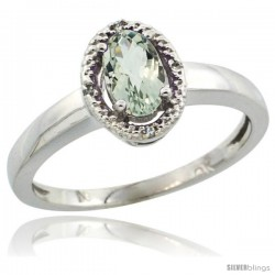 10k White Gold Diamond Halo Green Amethyst Ring 0.75 Carat Oval Shape 6X4 mm, 3/8 in (9mm) wide