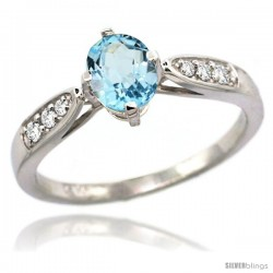 14k White Gold Sky Blue Topaz Engagement Ring 1.10 Carats Oval Cut Stone 0.19 cttw Diamonds, 5/16inch.