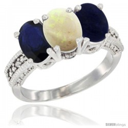 14K White Gold Natural Blue Sapphire, Opal & Lapis Ring 3-Stone 7x5 mm Oval Diamond Accent