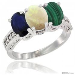 14K White Gold Natural Blue Sapphire, Opal & Malachite Ring 3-Stone 7x5 mm Oval Diamond Accent