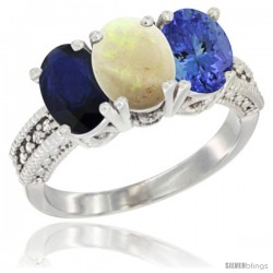 14K White Gold Natural Blue Sapphire, Opal & Tanzanite Ring 3-Stone 7x5 mm Oval Diamond Accent