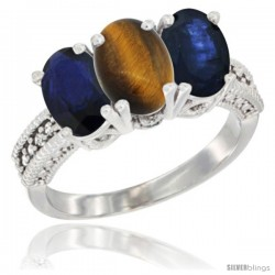 14K White Gold Natural Tiger Eye & Blue Sapphire Sides Ring 3-Stone 7x5 mm Oval Diamond Accent