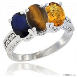 14K White Gold Natural Blue Sapphire, Tiger Eye & Whisky Quartz Ring 3-Stone 7x5 mm Oval Diamond Accent
