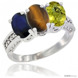 14K White Gold Natural Blue Sapphire, Tiger Eye & Lemon Quartz Ring 3-Stone 7x5 mm Oval Diamond Accent