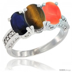 14K White Gold Natural Blue Sapphire, Tiger Eye & Coral Ring 3-Stone 7x5 mm Oval Diamond Accent