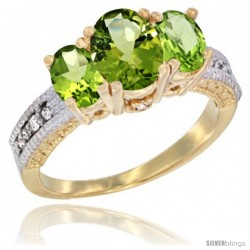 14k Yellow Gold Ladies Oval Natural Peridot 3-Stone Ring Diamond Accent