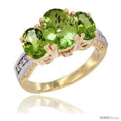 14K Yellow Gold Ladies 3-Stone Oval Natural Peridot Ring Diamond Accent