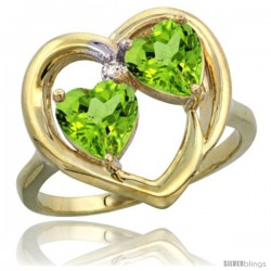 14k Yellow Gold 2-Stone Heart Ring 6mm Natural Peridot stones Diamond Accent