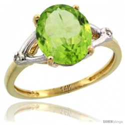 14k Yellow Gold Diamond Peridot Ring 2.4 ct Oval Stone 10x8 mm, 3/8 in wide