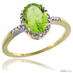 14k Yellow Gold Diamond Peridot Ring 1.17 ct Oval Stone 8x6 mm, 3/8 in wide