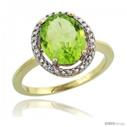 14k Yellow Gold Diamond Peridot Ring 2.4 ct Oval Stone 10x8 mm, 1/2 in wide -Style Cy411114