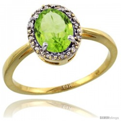 14k Yellow Gold Diamond Halo Peridot Ring 1.2 ct Oval Stone 8x6 mm, 1/2 in wide