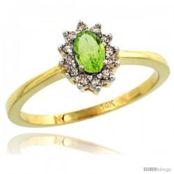 14k Yellow Gold Diamond Halo Peridot Ring 0.25 ct Oval Stone 5x3 mm, 5/16 in wide