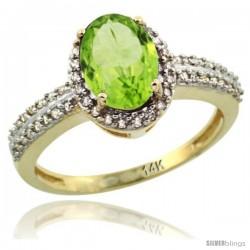 14k Yellow Gold Diamond Halo Peridot Ring 1.2 ct Oval Stone 8x6 mm, 3/8 in wide