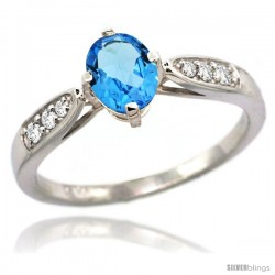 14k White Gold Natural Swiss Blue Topaz Ring 7x5 Oval Shape Diamond Accent, 5/16inch wide