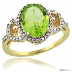 14k Yellow Gold Diamond Halo Peridot Ring 2.4 ct Oval Stone 10x8 mm, 1/2 in wide