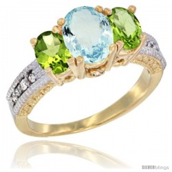 14k Yellow Gold Ladies Oval Natural Aquamarine 3-Stone Ring with Peridot Sides Diamond Accent
