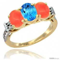 10K Yellow Gold Natural Swiss Blue Topaz & Coral Sides Ring 3-Stone Oval 7x5 mm Diamond Accent
