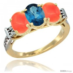 10K Yellow Gold Natural London Blue Topaz & Coral Sides Ring 3-Stone Oval 7x5 mm Diamond Accent