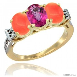 10K Yellow Gold Natural Pink Topaz & Coral Sides Ring 3-Stone Oval 7x5 mm Diamond Accent