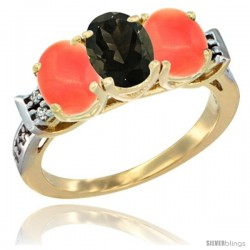 10K Yellow Gold Natural Smoky Topaz & Coral Sides Ring 3-Stone Oval 7x5 mm Diamond Accent