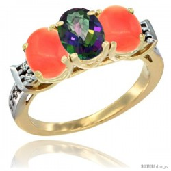 10K Yellow Gold Natural Mystic Topaz & Coral Sides Ring 3-Stone Oval 7x5 mm Diamond Accent