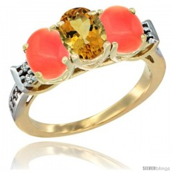 10K Yellow Gold Natural Citrine & Coral Sides Ring 3-Stone Oval 7x5 mm Diamond Accent