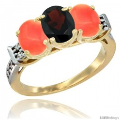 10K Yellow Gold Natural Garnet & Coral Sides Ring 3-Stone Oval 7x5 mm Diamond Accent