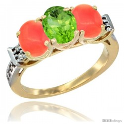 10K Yellow Gold Natural Peridot & Coral Sides Ring 3-Stone Oval 7x5 mm Diamond Accent