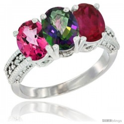 14K White Gold Natural Pink Topaz, Mystic Topaz & Ruby Ring 3-Stone 7x5 mm Oval Diamond Accent