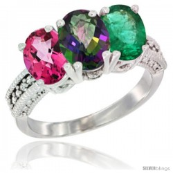 14K White Gold Natural Pink Topaz, Mystic Topaz & Emerald Ring 3-Stone 7x5 mm Oval Diamond Accent