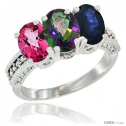 14K White Gold Natural Pink Topaz, Mystic Topaz & Blue Sapphire Ring 3-Stone 7x5 mm Oval Diamond Accent