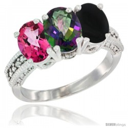 14K White Gold Natural Pink Topaz, Mystic Topaz & Black Onyx Ring 3-Stone 7x5 mm Oval Diamond Accent