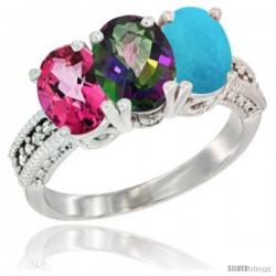 14K White Gold Natural Pink Topaz, Mystic Topaz & Turquoise Ring 3-Stone 7x5 mm Oval Diamond Accent