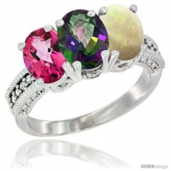 14K White Gold Natural Pink Topaz, Mystic Topaz & Opal Ring 3-Stone 7x5 mm Oval Diamond Accent